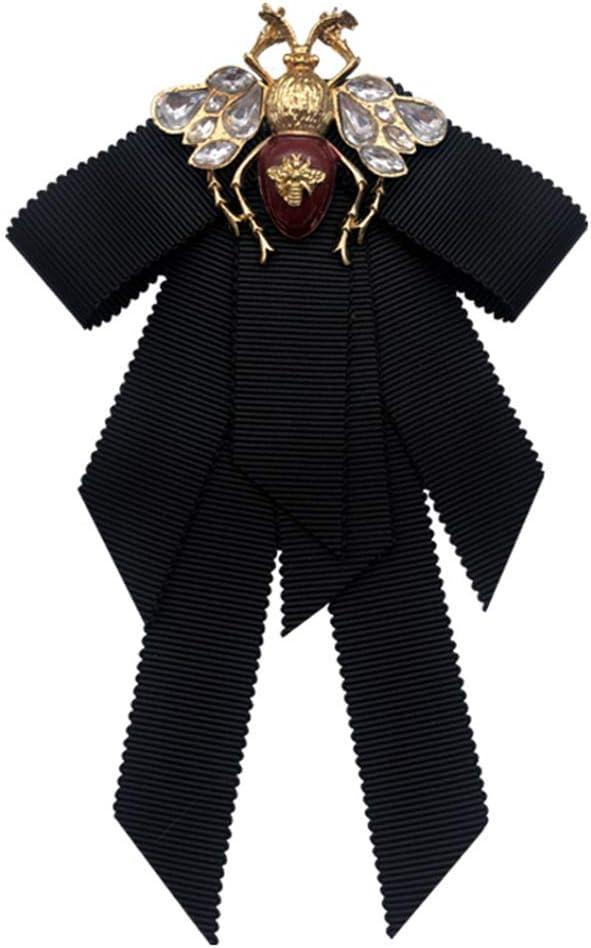 KAIDU Women Bowtie,Women Bowtie,Vintage Ribbon Women Big Bowtie Bee Bowknot Bow Tie Cravat Crystal Brooch Pin