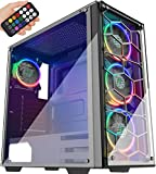 MUSETEX USB 3.0,ATX Mid-Tower Chassis Pre-Installed Voice Remote Control & 2 Translucent Tempered Glass Panels, Decent Cable Management/Airflow Gaming PC Case Computer Case
