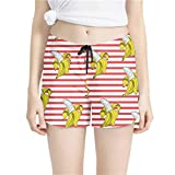 GHC Spiaggia Pantaloncini Simpatici Banche Banane Design Design Donne da Donna Pantaloncini da Spiaggia Spiaggia Spiaggia Girls Short Mid Vita Scoperta Pantaloncini Asciughi Quick Dry