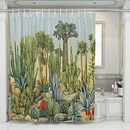Cortina de Baño Impermeable Poliéster con Ganchos,Cortina de Ducha Resistente al Agua para Decoración 180x180cm (Cactus)