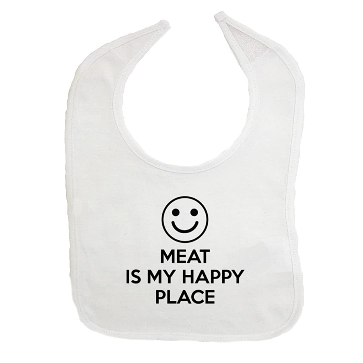 Mashed Clothing Meat Is My Happy Place Cotton Baby Bib