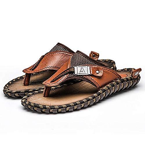 WXYXG Herren Leder Flip Flops Mode Lässig Strand Sandalen im Sommer Atmungsaktive Hausschuhe Zehenring Zehentrenner Zehenschlaufe Ledersandalen 41-Brown