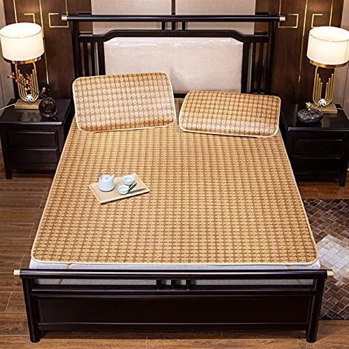 PANJAZE Estera de Cama de ratán Suave, ratán sintético Enfriamiento de Verano, Estera para Dormir, Camara de enfriamiento Suave Plegable, colchón de enfriamiento Suave (Color : A, Size : 120 * 195cm)