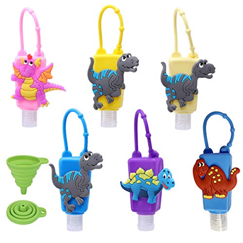 DARUNAXY 6 Pack 30ml/1oz Silicone Bottles Holder Kids Cartoon Travel Portable Plastic Leak Proof Keychain Carriers-Random Colors Bottle/Without Liquid (Dinosaur)