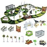 Dinosaurios Juguetes Pista de Circuito Coches Fantastic Tracks Dinosaurio Juguete 213 Piezas con Tocadiscos Giratorio Automático Juegos Regalos Educativos para Niños Niñas 3 4 5 6 años