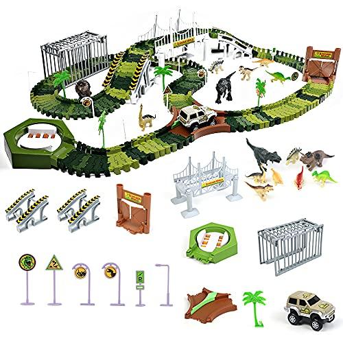 Dinosaurier Spielzeug Autorennbahn Cars Spielzeug ab 3 4 5 Jahre Junge Mädchen 213 Stück Flexibel Rennbahn Jurassic Welt Spielzeug Kinder Auto Dino Spielzeugset mit Jurassic Park Dinosaurier Figuren