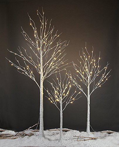 LIGHTSHARE 4 feet 6 feet and 8 Feet Birch Tree,Warm White, for Home,Pack of 3, Festival, Party, and Christmas Decoration, Indoor and Outdoor Use