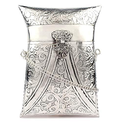 Bolso lateral blanco plateado Monedero de latón vintage indio Clutch étnico antiguo Bolso de embrague de metal hecho a mano para mujer Bolso de fiesta