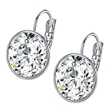 Bella Drop Earrings Crystals from Swarovski 18K White Gold Plated Hypoallergenic Jewelry for Women Girls