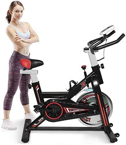 Hooseng Indoor Fitness Stationary Flywheel Bicycle, Exercise Spinning Bike with Large LCD Display Monitor for Home Use, Multi-Resistance Levels Adjustable