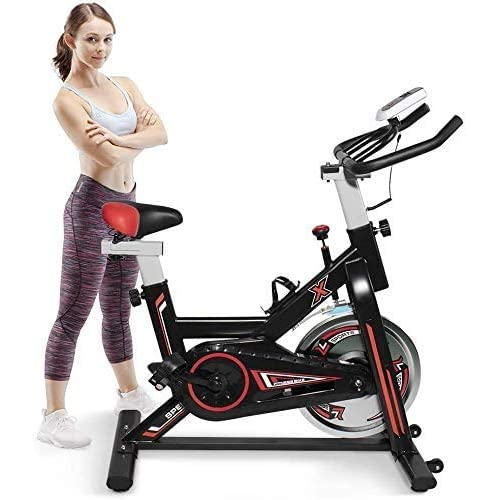 Hooseng Indoor Fitness Stationary Flywheel Bicycle, Exercise Spinning Bike with Large LCD Display Monitor...