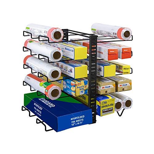 Wrap Organizer Rack, verstellbarer Wrap Stand mit 10 Drahthalterung, Multifunktionaler Wrap Box Organizer für Küche, Schränke, Speisekammer, Schwarz (Patent angemeldet)