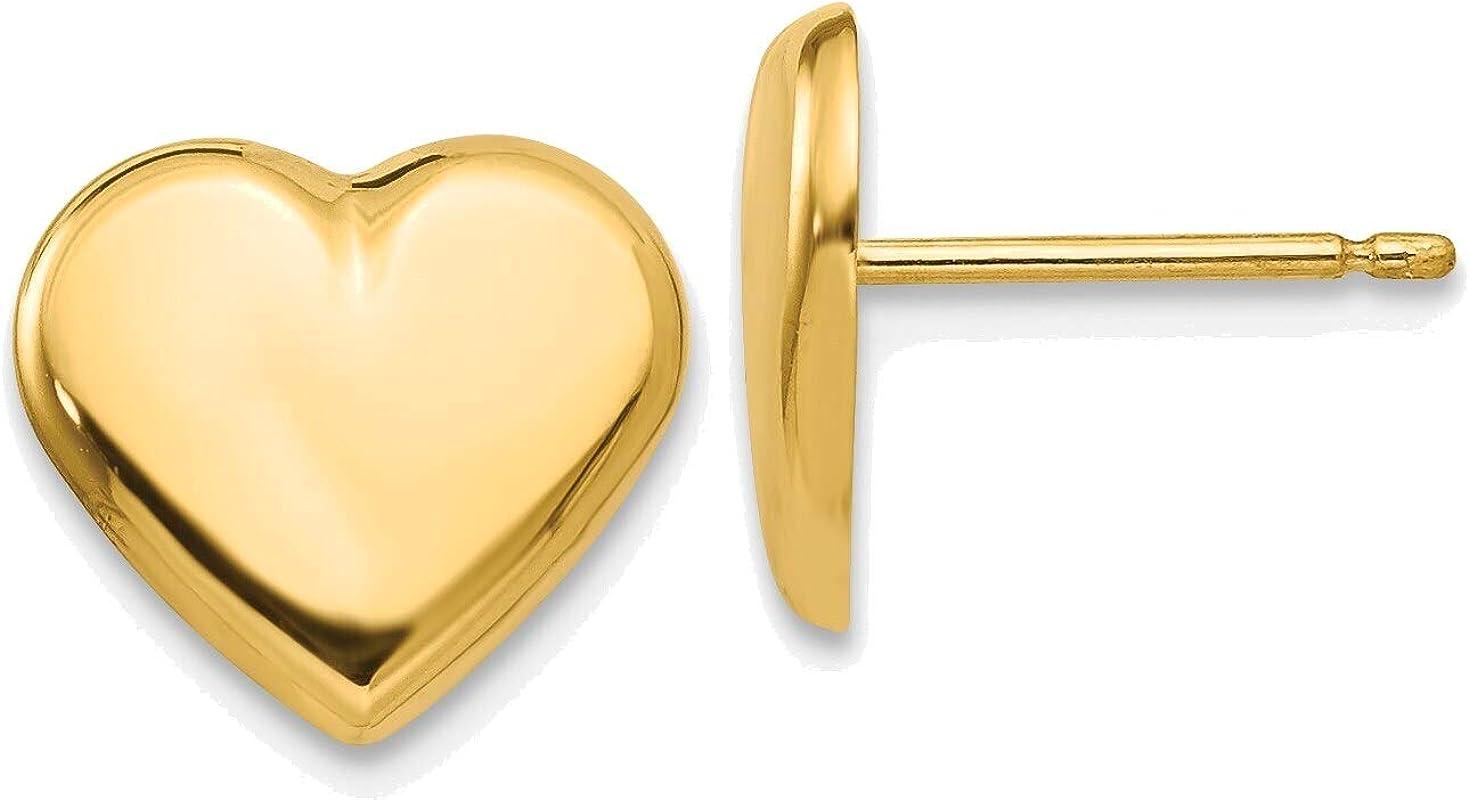Heart Post Earrings in 14K Yellow Gold