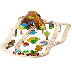 1. Bigjigs Rail Wooden Dinosaur Prehistoric Railway Play Set