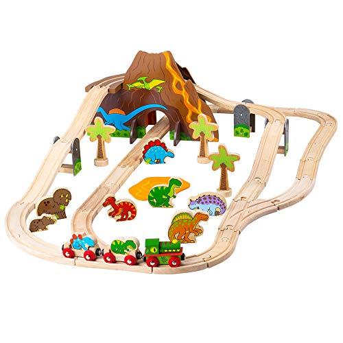 Bigjigs Rail Wooden Dinosaur Railway Set - 49 Pieces