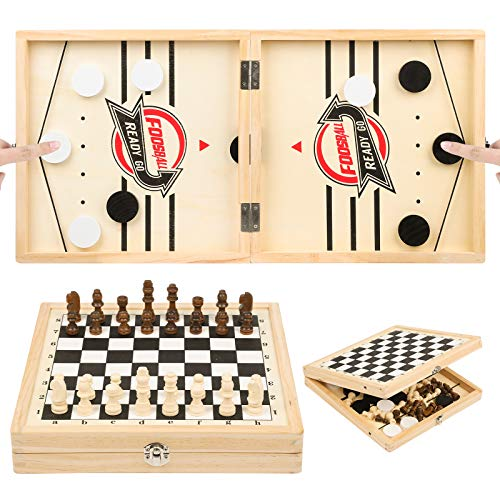 236 x 118 in Foldable Fast Sling Puck Game amp Chess 2 in 1 Set Wooden Hockey Game Slingshot Board Portable Wooden Game for Kids and Adults ParentChild Interactive Desktop Game for Family Party
