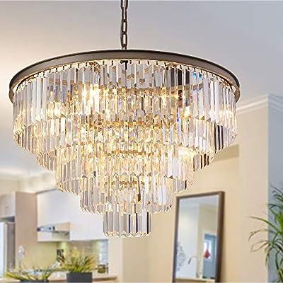 "MEELIGHTING Nickel Modern Crystal Chandelier Lights Pendant Ceiling Light Vintage Contemporary Chandeliers Lighting Fixture Big (5-Tier 16Lights) for Dining Living Room Kitchen Island Bedroom W32"""