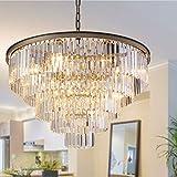 MEELIGHTING Nickel Modern Crystal Chandelier Lights Pendant Ceiling Light Vintage Contemporary Chandeliers Lighting Fixture Big (5-Tier 16Lights) for Dining Living Room Kitchen Island Bedroom W32'