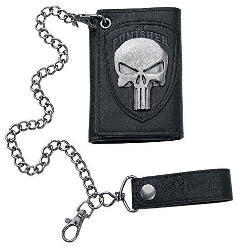 Bioworld Marvel The Punisher Skull Logo Mens Biker Chain Wallet,Black,One Size