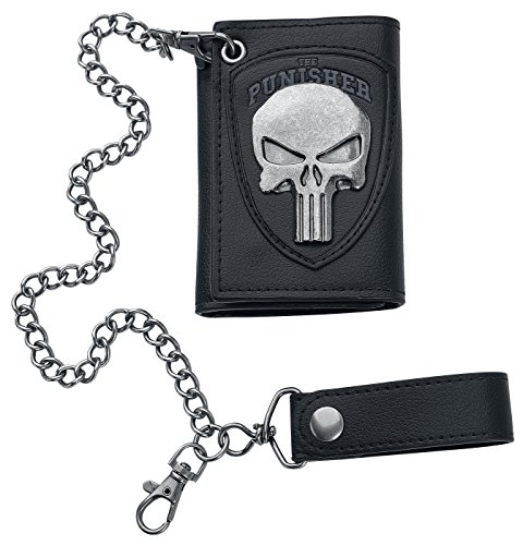 Bioworld Marvel The Punisher Skull Logo Mens Biker Chain Wallet,Black,One Size