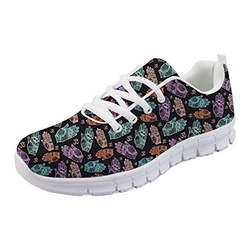 HUGS IDEA Bequeme Laufschuhe für Damen Bunte Handzeichen Design Athletic Walking Jogging Schuhe EU 40