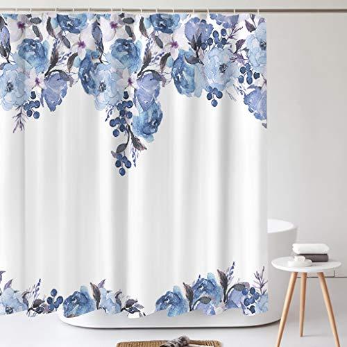 Tititex Duschvorhang-Sets, Blumenmotiv, blaue Beeren, Blumenmuster mit Blättern, Aquarell, Badezimmer, dekorativ, 178 x 178 cm, Polyester, wasserdicht, mit Haken