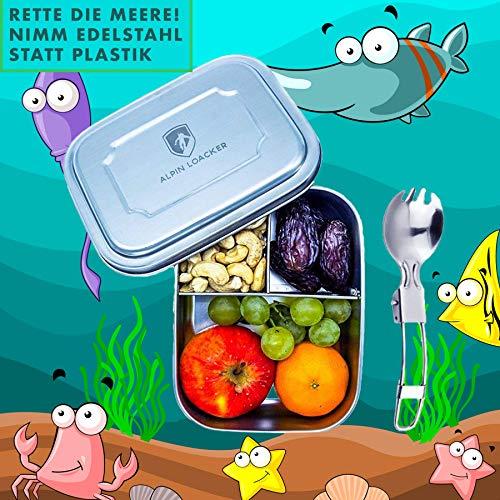 *Alpin Loacker Edelstahl Lunchbox für Kinder und Erwachsene mit Faltgöffel Brotdose, Brotbox, Vesperbox, Vesperdose mit Fächern, Trennwand | Bento Box für Kinder*