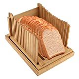 Bread Slicer Foldable Bamboo Bread Slicer Guide with Crumb Catching Tray for Home and Commercial