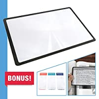Premium 3X (300%) Page Magnifing Lens With 3 Bonus Bookmark Magnifiers for Reading, Low Vision Aids & Solar Projects by MagniProsテつョ by MagniProsテつョ