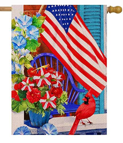Dyrenson 4th of July 28 x 40 House Flag Large Double Sided Patriotic Cardinal Flower, July 4 Red Bird Geraniums Burlap Garden Yard Decoration, Spring Summer USA Decorative Seasonal Outdoor Iris Décor