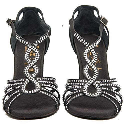 Manuel Reina - Zapatos de Baile Latino Mujer Salsa Flex 4 Black - Bailar Bachata, Salsa, Kizomba (39 EU, Tacón: 9)