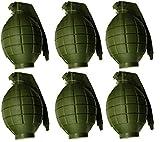 Packung mit 6 Kindern Army Toy Green Handgranaten - mit Blitzlicht & Sound - Roleplay