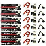 Gfryerty 6 StüCk VER009 USB 3.0 PCI-E Riser 009S Express 1X Bis 16X Extender Riser Karte SATA 15Pin Bis 6 Pin Power Netzkabel