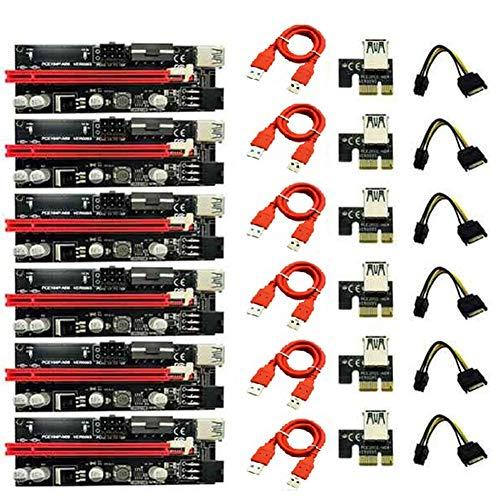 Gfryerty Ver009 - Adaptador de tarjeta elevadora USB 3.0 PCI-E Riser 009S Express 1X hasta 16X SATA de 15 pines hasta 6 pines