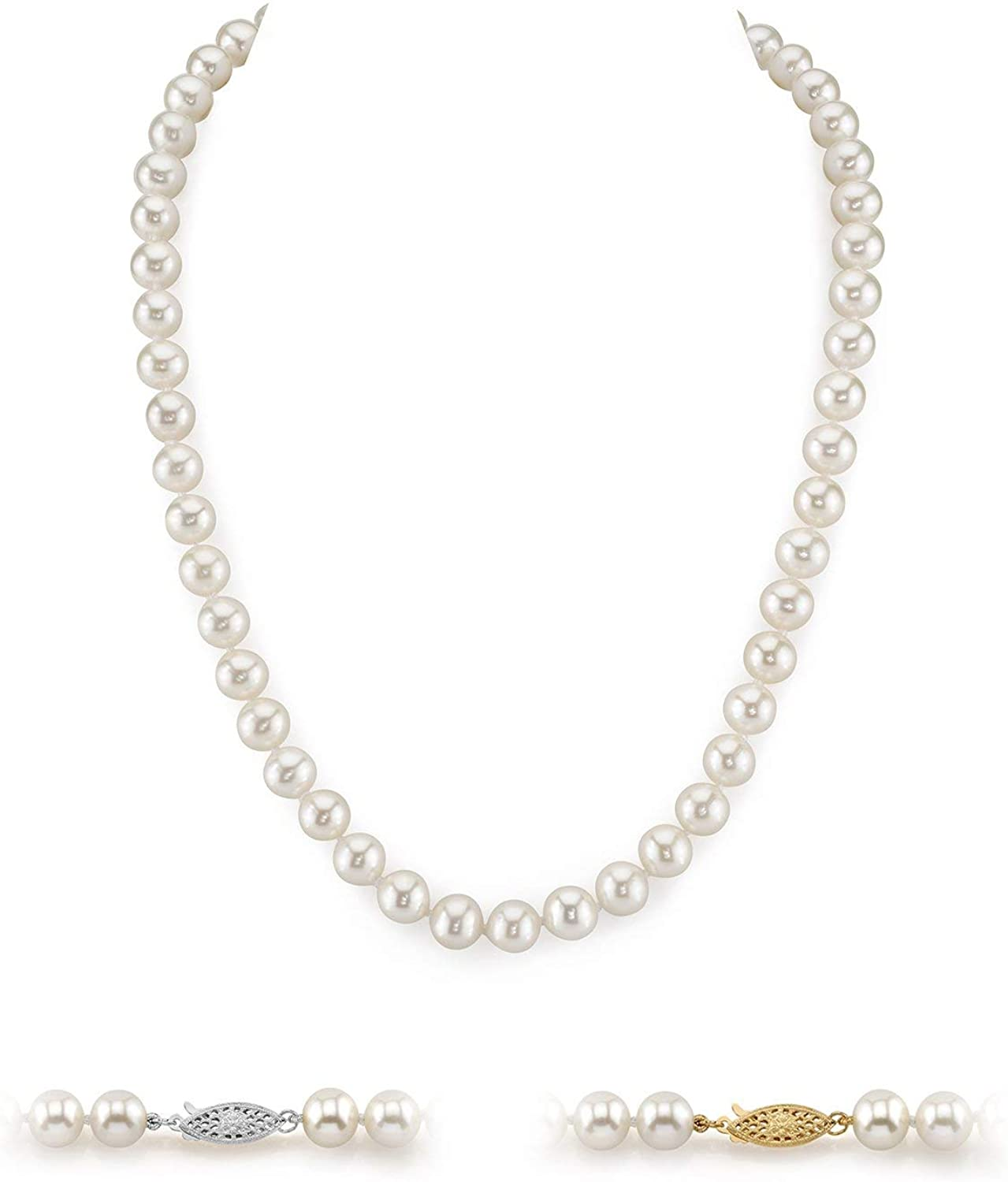 THE PEARL SOURCE 14K Gold AAAA Quality White Freshwater Cultured Pearl Necklace for Women in 18
