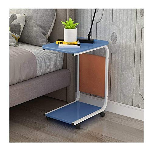 BUYT Portable End Table Industrial End Table with Castors and Storage Bag - Sofa Side Table C Table Laptop Table Mobile Snack Coffee Tray 2-Tier Nightstand - Vintage Portable Desks for Small Spaces