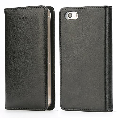 IPHOX Funda Compatible Con iPhone SE 2016 (No para 2020) / iPhone 5S / iPhone 5, Funda con Tapa de Cuero con Cartera en Folio Premium Para Apple iPhone SE 2016 / 5S / 5, Black/E