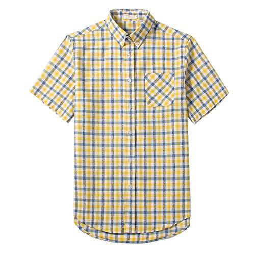 Camisa de Manga Corta para Hombre Camisa a Cuadros con Bloqueo de Color Casual Todo-fósforo Camisa básica Ajustada de Moda Simple con Bolsillo Lateral M