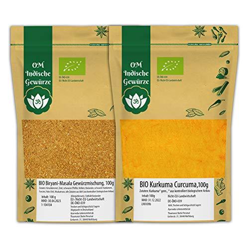 BIO Biryani Gewürzmischung Masala 100g + BIO Kurkuma gemahlen 100g   Curry Masala SET   Gewürze für Indisches Reisgericht