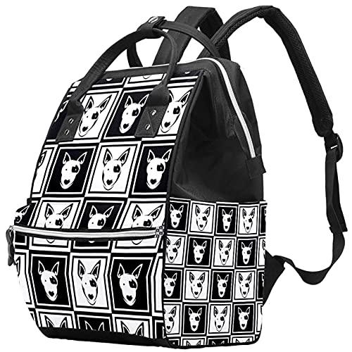 Bolsa de pañales de gran capacidad, multifunción, impermeable, para mamá y papá, diseño de mariposas, color blanco y negro