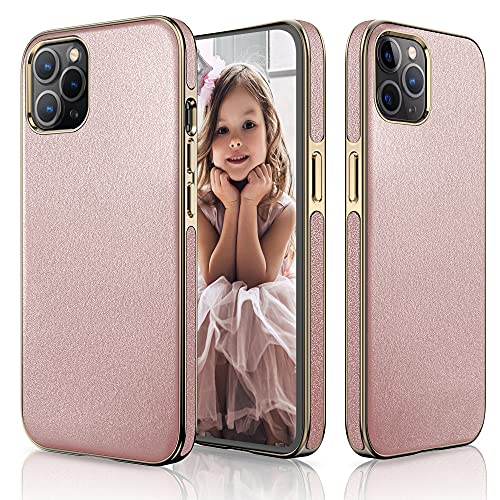 LOHASIC Designed for iPhone 13 Pro Max Case, Luxury Slim Leather Vintage Classic Cover Soft Grip Lovely Cute Protective Cases for Girls Women with iPhone 13 Pro Max 5G 6.7 inch - Rose Gold