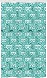 ABAKUHAUS Geek Tenda da Doccia Stalla, Silhouette Doodle Occhiali, Set per Il Bagno in Tessuto con Ganci, 120 cm x 180 cm, Multicolore