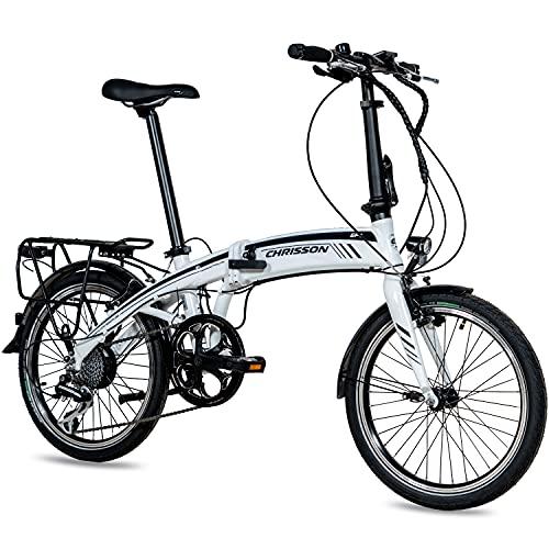 CHRISSON 20 Zoll E-Bike City Klapprad EF1 weiß - E-Faltrad mit Ananda Nabenmotor 250W, 36V und 40 Nm, Pedelec Faltrad für Damen und Herren, praktisches Elektro Klappfahrrad, perfekt für die Stadt