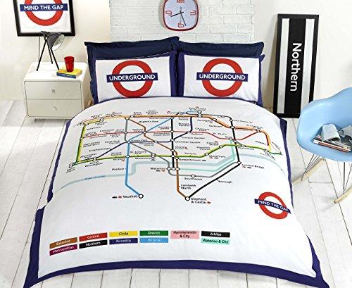 Underground Homespace Direct de Londres Metro Tubo Funda de edredón y Fundas de Almohada Juego de Cama–King, Color Blanco