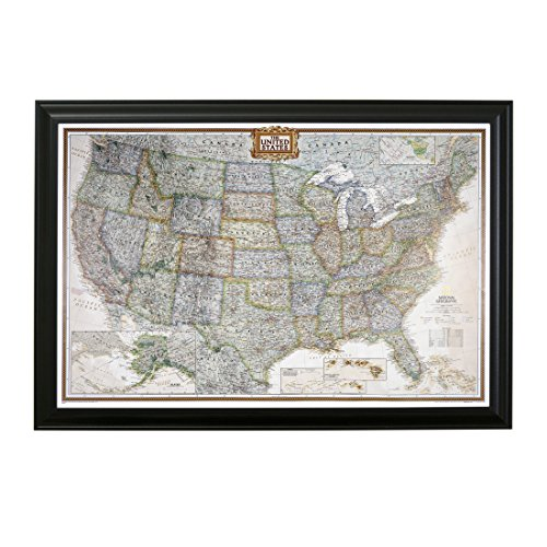 Push Pin Travel Maps Executive US with Black Frame and Pins - 27.5 inches x 39.5 inches