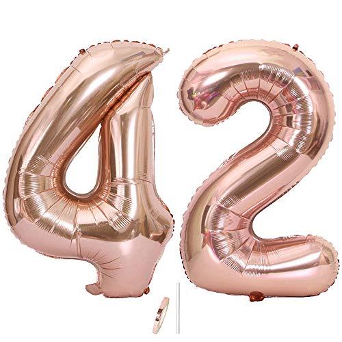Ceqiny Globo de mylar 40 pulgadas con número 42 globo gigante globo papel aluminio para fiesta de cumpleaños boda despedida soltera compromiso decoración de aniversario, dígitos 42 globo Oro Rosa