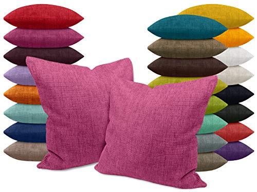 npluseins Kissenhülle mit Struktur-Muster - Polsteroptik 617.767, 1 Pack (2 Stück) - Kissenhüllen 50 x 50 cm, pink meliert