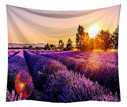 ZebraSmile High Definition Lavender Tapestry Microfiber Heavy Fabric Soft Plush Cloth Printing Floral Wall Tapestry for Girl's Bedroom Dorm Headboard Home Backdrop Decoration, with Clips, 59 by 51In