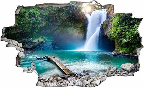 DesFoli Wasserfall Waterfall Natur 3D Look Wandtattoo 70 x 115 cm Wanddurchbruch Wandbild Sticker Aufkleber C407