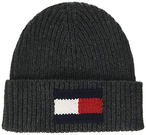 Tommy Hilfiger Big Flag Beanie Gorro de Punto, (Grey 0it), Talla única...